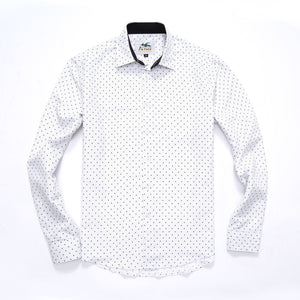The Ashton Long Sleeve Fluer Print Shirt in White