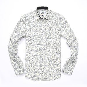 The Ashton Long Sleeve Wallflower Print Shirt in White