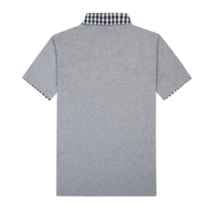 THE BREWSTER MIXED MEDIA POLO IN DARK GREY HEATHER