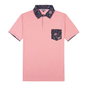 THE BREWSTER MIXED MEDIA POLO IN SALMON