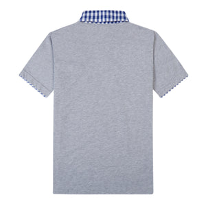 THE BREWSTER MIXED MEDIA POLO IN MEDIUM GREY