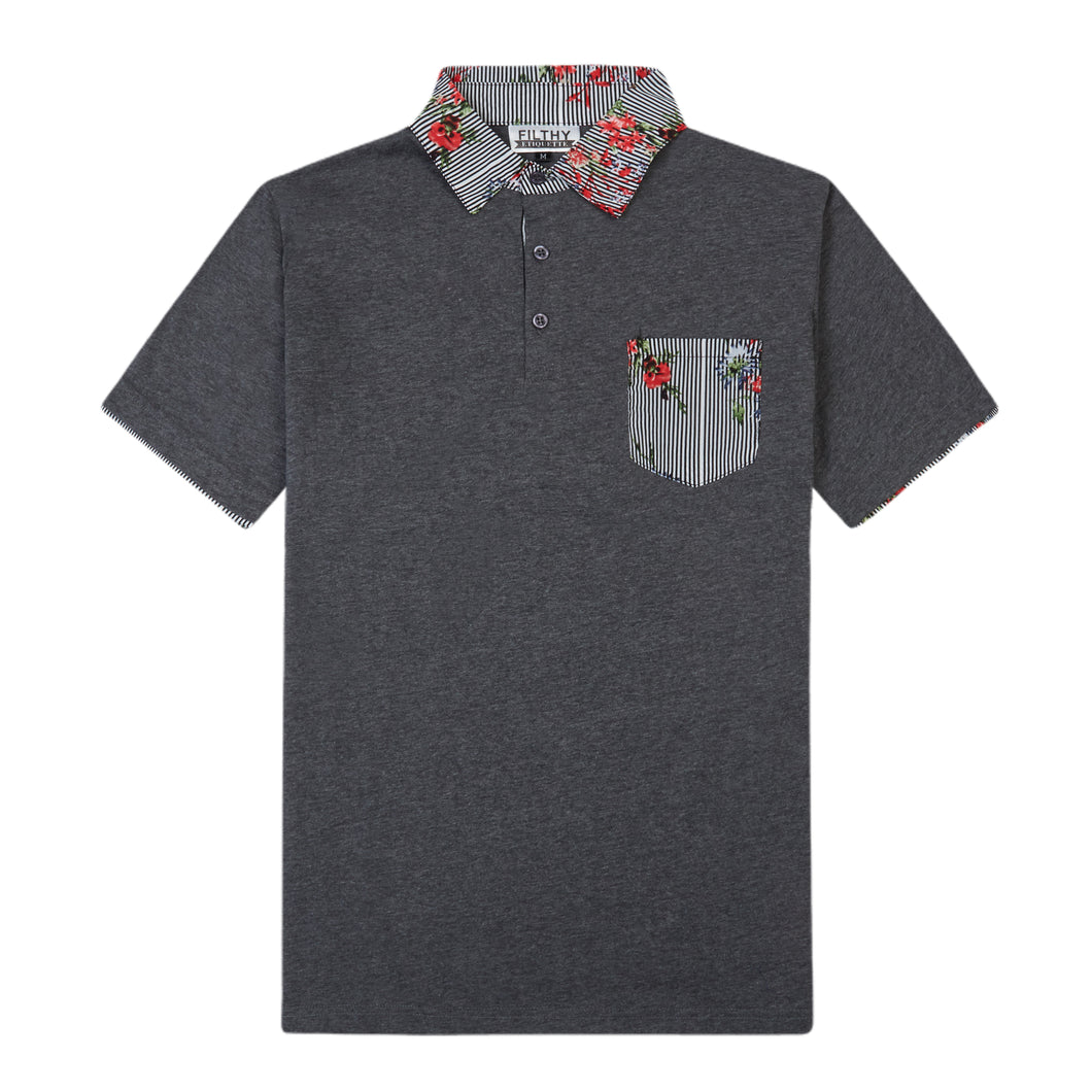 THE BREWSTER MIXED MEDIA POLO IN CHARCOAL