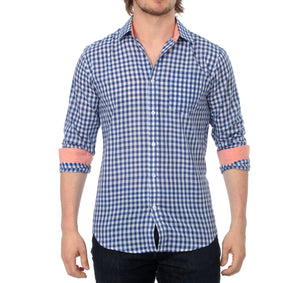 The Greyson Long Sleeve Gingham Plaid Shirt in Navy