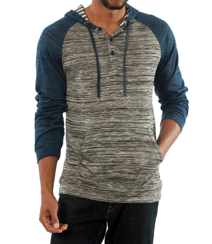 The Savannah Long Sleeve Hoodie in Grey/Navy