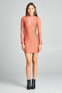 Plunging illusion neckline stretch-knit dress