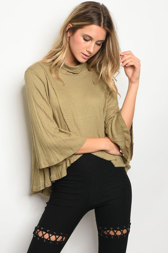 Ladies fashion long bell sleeve cowl neck tulip front waffle knit slub top