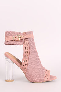Qupid Perforated Suede Chunky Clear Heeled Mule Booties