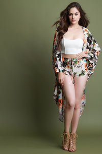 Floral Cardigan With High Waisted Shorts Set
