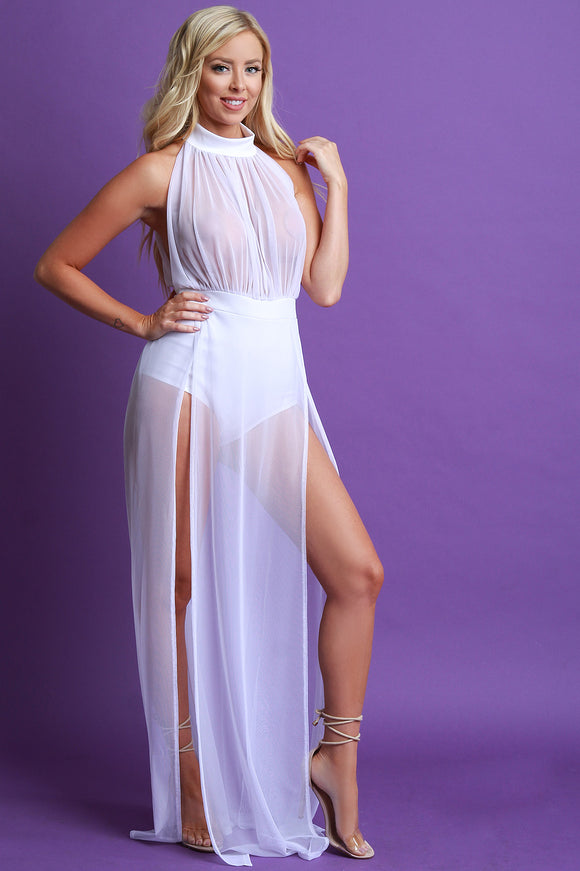 Mesh M-Slit Bodysuit Maxi Dress