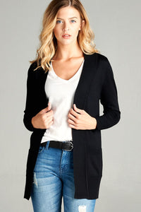 Ladies fshion long sleeve rib banded open sweater cardigan w/pockets
