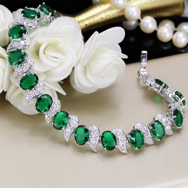 Famous Emerald Sterling Silver Bracelet - JPG STORE DQ35
