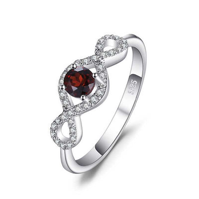 0.65ct Round Natural Garnet Ring - jpgstorepro.com/ring/bracelet/earrings/necklace/birthstone/gemstone/sterling silver/ruby/emerald/sapphire/diamond/amethyst/aquamarine/citrine