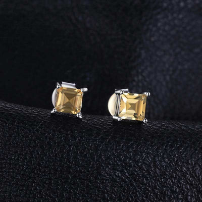 0.6ct Natural Citrine Earrings - jpgstorepro.com/ring/bracelet/earrings/necklace/birthstone/gemstone/sterling silver/ruby/emerald/sapphire/diamond/amethyst/aquamarine/citrine