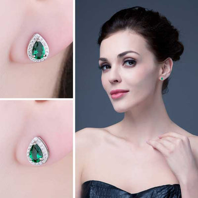 0.85ct Emerald Stud Earrings - jpgstorepro.com/ring/bracelet/earrings/necklace/birthstone/gemstone/sterling silver/ruby/emerald/sapphire/diamond/amethyst/aquamarine/citrine