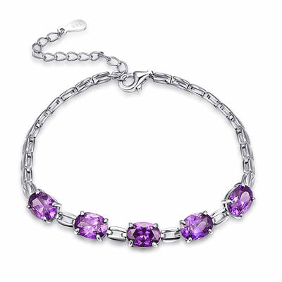 7.01g Silver Amethyst Bracelet - jpgstorepro.com/ring/bracelet/earrings/necklace/birthstone/gemstone/sterling silver/ruby/emerald/sapphire/diamond/amethyst/aquamarine/citrine