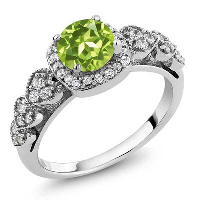 1.17 Ct Natural Peridot  Ring - jpgstorepro.com/ring/bracelet/earrings/necklace/birthstone/gemstone/sterling silver/ruby/emerald/sapphire/diamond/amethyst/aquamarine/citrine
