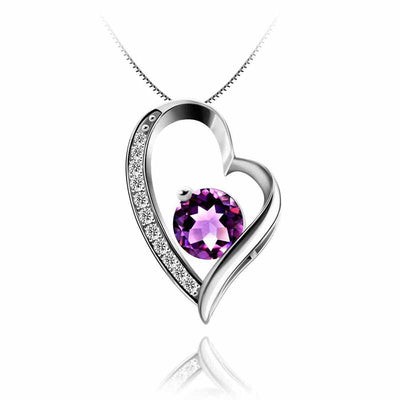 1.2ct Love Heart Amethyst Necklace - jpgstorepro.com/ring/bracelet/earrings/necklace/birthstone/gemstone/sterling silver/ruby/emerald/sapphire/diamond/amethyst/aquamarine/citrine