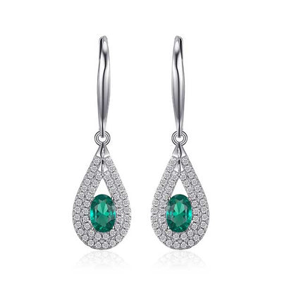 1.2ct Oval Emerald Dangle Earrings - jpgstorepro.com/ring/bracelet/earrings/necklace/birthstone/gemstone/sterling silver/ruby/emerald/sapphire/diamond/amethyst/aquamarine/citrine