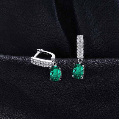 1.7ct Oval Emerald Clip Earrings - jpgstorepro.com/ring/bracelet/earrings/necklace/birthstone/gemstone/sterling silver/ruby/emerald/sapphire/diamond/amethyst/aquamarine/citrine