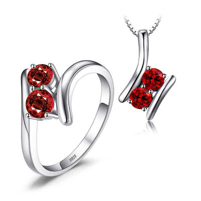1.9ct Genuine Garnet 2 Stone Set - jpgstorepro.com/ring/bracelet/earrings/necklace/birthstone/gemstone/sterling silver/ruby/emerald/sapphire/diamond/amethyst/aquamarine/citrine