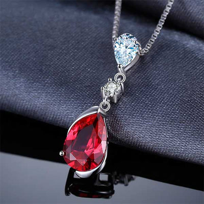 Water Drop 3.27ct Red Ruby Pendant Best Luxury July Birthday birthstone jewelry gift - jpgstorepro.com