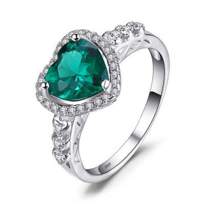 1.8ct Emerald Heart Ring - jpgstorepro.com/ring/bracelet/earrings/necklace/birthstone/gemstone/sterling silver/ruby/emerald/sapphire/diamond/amethyst/aquamarine/citrine