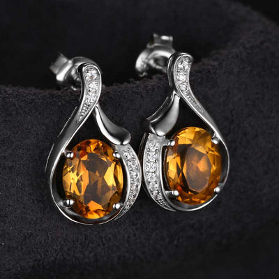 2.3ct  Genuine Citrine Earrings - jpgstorepro.com/ring/bracelet/earrings/necklace/birthstone/gemstone/sterling silver/ruby/emerald/sapphire/diamond/amethyst/aquamarine/citrine