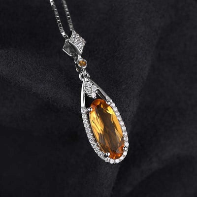2.4ct Genuine Citrine Necklace - jpgstorepro.com/ring/bracelet/earrings/necklace/birthstone/gemstone/sterling silver/ruby/emerald/sapphire/diamond/amethyst/aquamarine/citrine