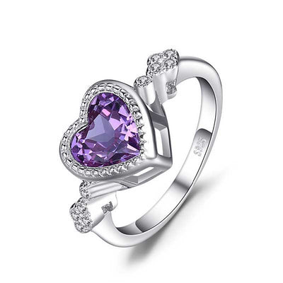 2.6ct Love Heart Amethyst Ring - jpgstorepro.com/ring/bracelet/earrings/necklace/birthstone/gemstone/sterling silver/ruby/emerald/sapphire/diamond/amethyst/aquamarine/citrine