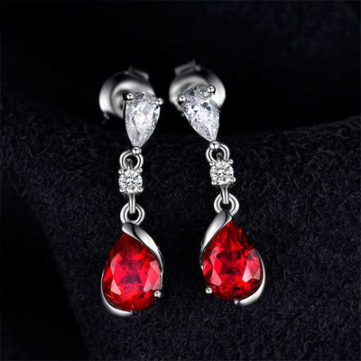2.4ct Pear Red Ruby Earrings - jpgstorepro.com/ring/bracelet/earrings/necklace/birthstone/gemstone/sterling silver/ruby/emerald/sapphire/diamond/amethyst/aquamarine/citrine