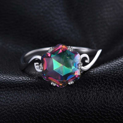 3.2ct Genuine Rainbow Topaz Ring - jpgstorepro.com/ring/bracelet/earrings/necklace/birthstone/gemstone/sterling silver/ruby/emerald/sapphire/diamond/amethyst/aquamarine/citrine
