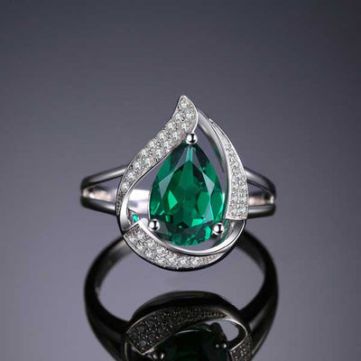 3.7ct Water Drop Emerald Ring - jpgstorepro.com/ring/bracelet/earrings/necklace/birthstone/gemstone/sterling silver/ruby/emerald/sapphire/diamond/amethyst/aquamarine/citrine