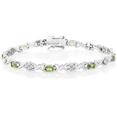 4.00 Ct Natural Peridot Bracelet - jpgstorepro.com/ring/bracelet/earrings/necklace/birthstone/gemstone/sterling silver/ruby/emerald/sapphire/diamond/amethyst/aquamarine/citrine