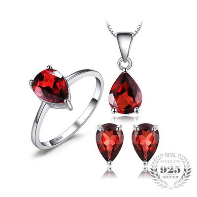 5.4ct Natural Garnet Jewelry Set - jpgstorepro.com/ring/bracelet/earrings/necklace/birthstone/gemstone/sterling silver/ruby/emerald/sapphire/diamond/amethyst/aquamarine/citrine