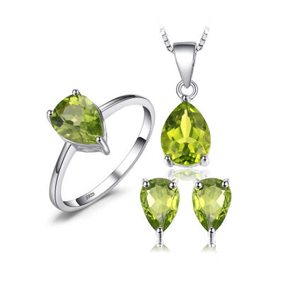 5ct Natural Peridot Jewelry Set - jpgstorepro.com/ring/bracelet/earrings/necklace/birthstone/gemstone/sterling silver/ruby/emerald/sapphire/diamond/amethyst/aquamarine/citrine