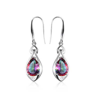 6.8ct Genuine Rainbow Topaz Earrings - jpgstorepro.com/ring/bracelet/earrings/necklace/birthstone/gemstone/sterling silver/ruby/emerald/sapphire/diamond/amethyst/aquamarine/citrine