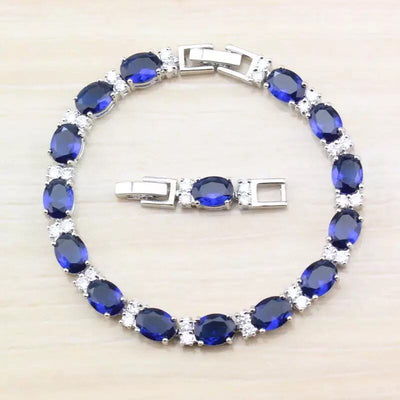 LUXURY-Blue-Spinel-Bracelets-for-Women-Genuine-925-Sterling-Silver-Jewelry-Romantic-Birthstone-Gemstone-Tennis-Bracelet-Sapphire-Ring-Necklace-Earrings-SEPTEMBER | SAPPHIRE