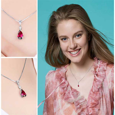 Water Drop 3.27ct Red Ruby Pendant Best Luxury July Birthday birthstone jewelry gift- jpgstorepro.com