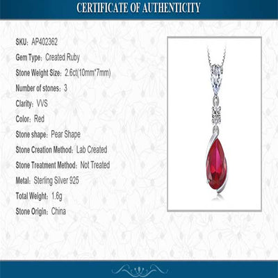 Water Drop 3.27ct Red Ruby Pendant - jpgstorepro.com
