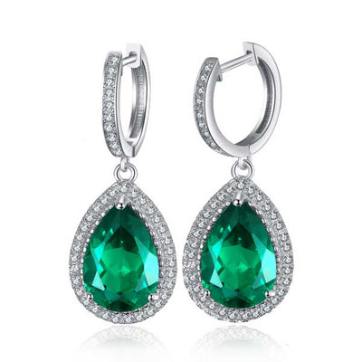 8.4ct Water Drop Emerald Earrings - jpgstorepro.com/ring/bracelet/earrings/necklace/birthstone/gemstone/sterling silver/ruby/emerald/sapphire/diamond/amethyst/aquamarine/citrine