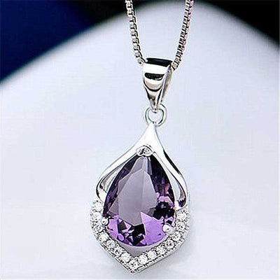 Amethyst Drop Silver Necklace - jpgstorepro.com/ring/bracelet/earrings/necklace/birthstone/gemstone/sterling silver/ruby/emerald/sapphire/diamond/amethyst/aquamarine/citrine