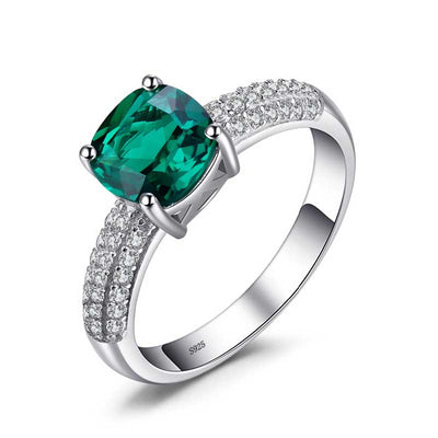 1.8ct Cushion Emerald Ring - jpgstorepro.com/ring/bracelet/earrings/necklace/birthstone/gemstone/sterling silver/ruby/emerald/sapphire/diamond/amethyst/aquamarine/citrine