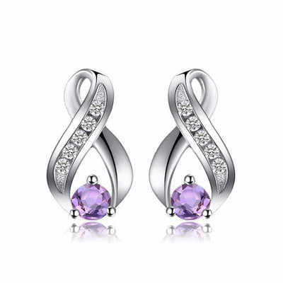 0.29ct Genuine Amethyst Earrings - jpgstorepro.com/ring/bracelet/earrings/necklace/birthstone/gemstone/sterling silver/ruby/emerald/sapphire/diamond/amethyst/aquamarine/citrine