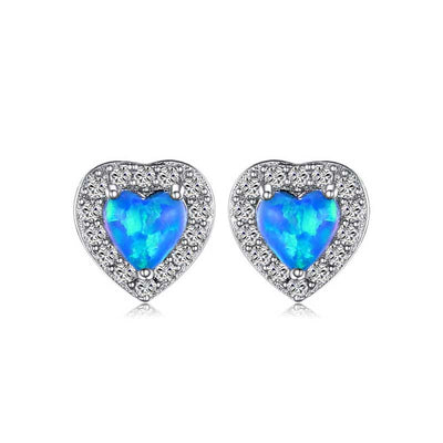 Heart Cabochon Opal Earrings - jpgstorepro.com