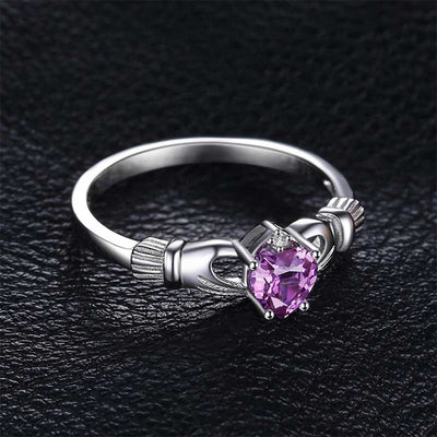 Heart Natural Amethyst Ring - jpgstorepro.com