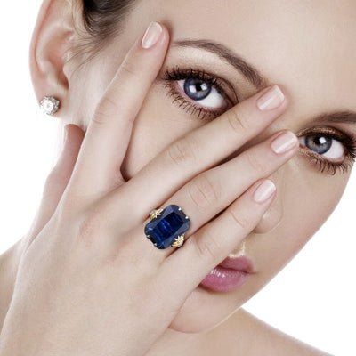 Luxury Silver Sapphire Ring