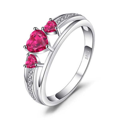 Love Heart 0.9ct  Ruby Ring - jpgstorepro.com