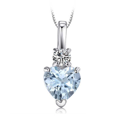 0.9ct Love Heart Aquamarine Necklace - jpgstorepro.com/ring/bracelet/earrings/necklace/birthstone/gemstone/sterling silver/ruby/emerald/sapphire/diamond/amethyst/aquamarine/citrine