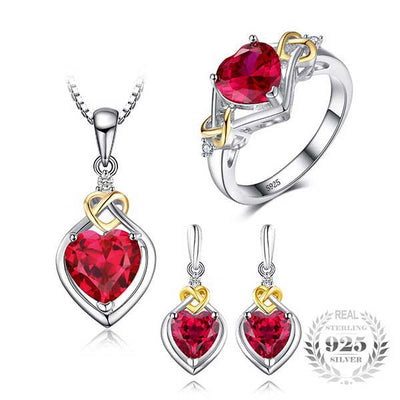 8.4ct Love Heart Jewelry Set - jpgstorepro.com/ring/bracelet/earrings/necklace/birthstone/gemstone/sterling silver/ruby/emerald/sapphire/diamond/amethyst/aquamarine/citrine