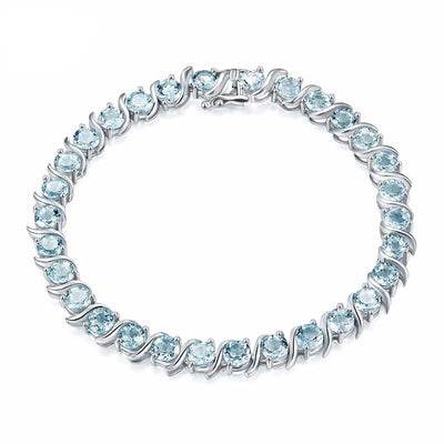 15.12Ct Natural Aquamarine Bracelet - jpgstorepro.com-LUXURY-Blue-Spinel-Bracelets-for-Women-Genuine-925-Sterling-Silver-Jewelry-Romantic-Birthstone-Gemstone-Tennis-Bracelet